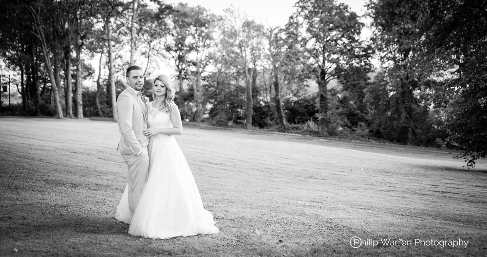 Bride and Groom At Coed-y-Mwstwr