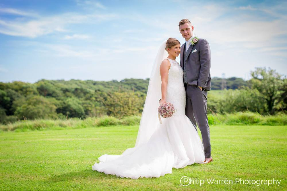 Bride and Groom Outdoors at Court Colman