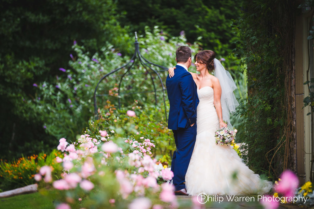 Bride and Groom in Miskin Manor Wedding