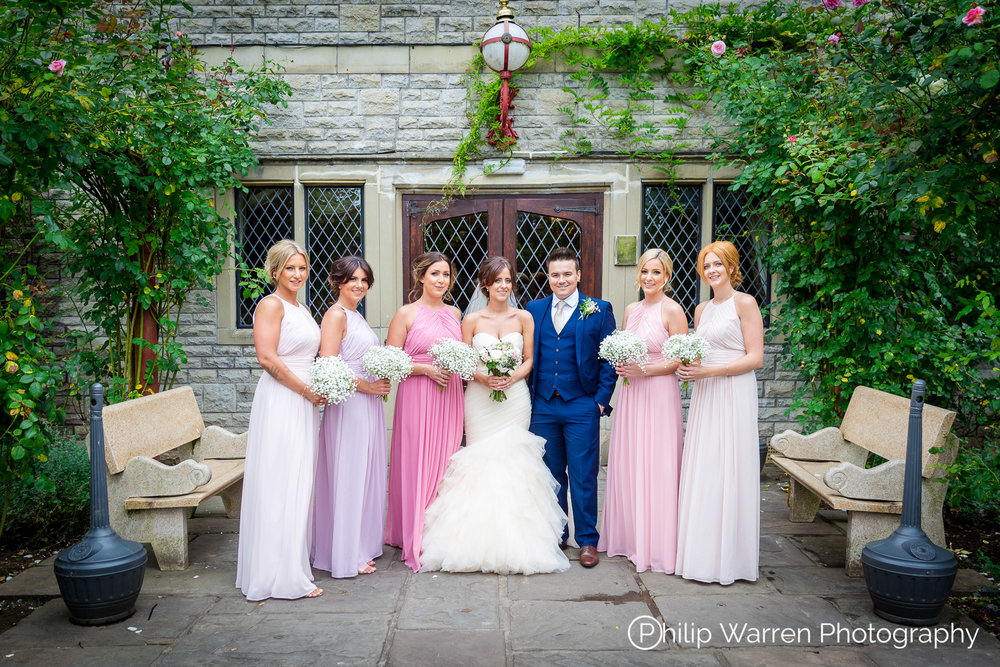Bridal Party With Bridesmaids Bride and Groom