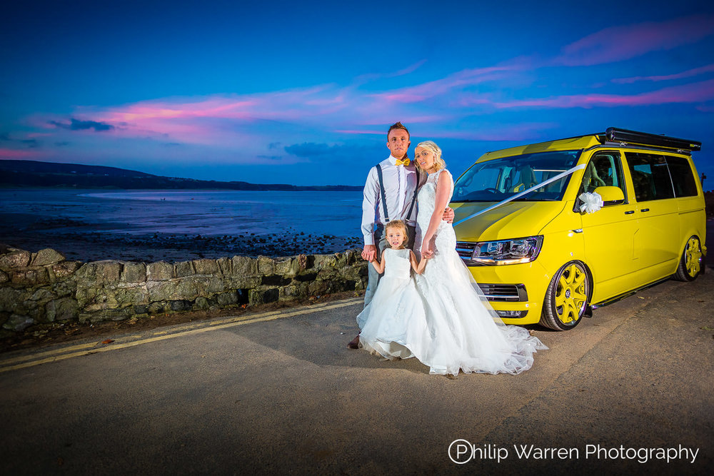 NewWave Conversions Demo Van Wedding Car at Sunset at Oxwich Bay, Gower