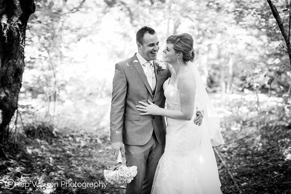 wedding photos in woodland near bryngarw house bridgend