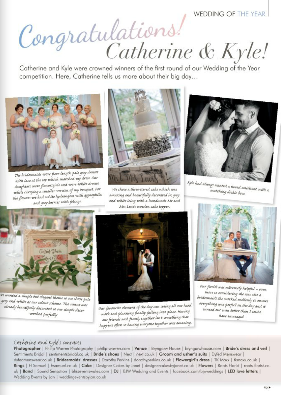 Congratulations Kyle and Catherine! - Awesome to find out that Kyle and Catherine have made it through the first round of the Wedding Of The Year Competition held by Your South Wales Wedding magazine. When the finalists are announced I will post a link to where you can (hopefully) vote for them to win. Lets get them that prize!Phil. :)