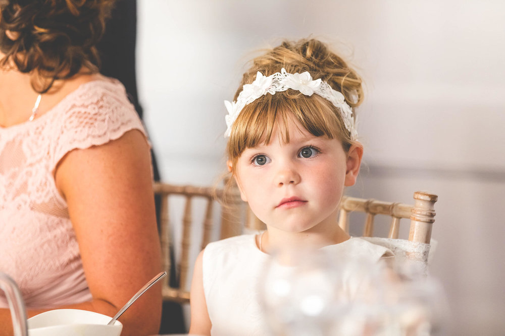 flower girl at wedding breakfast in hensol castle