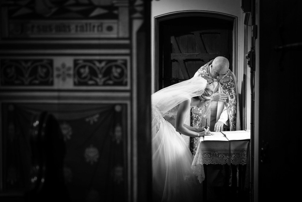 bride signing the register