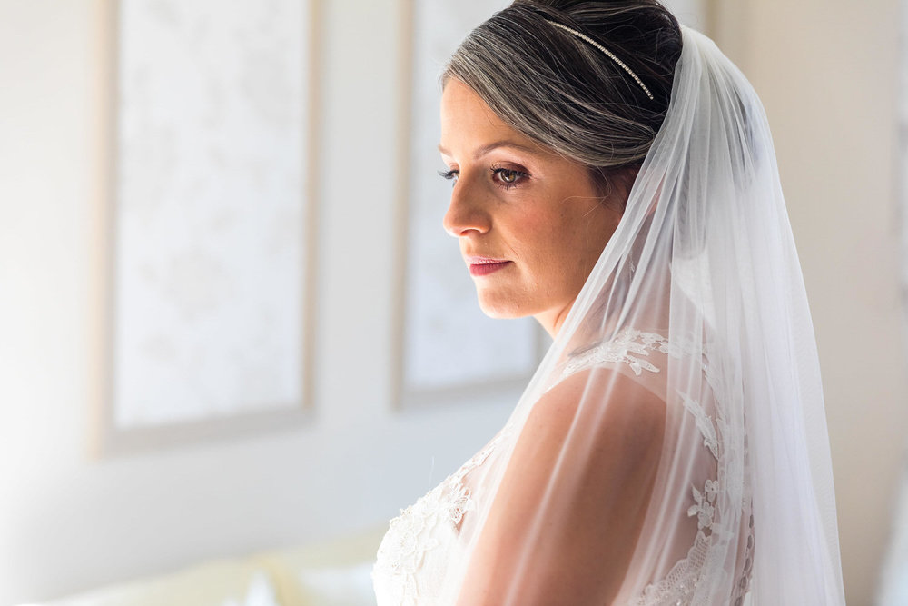 bride contemplating the day just before the ceremony