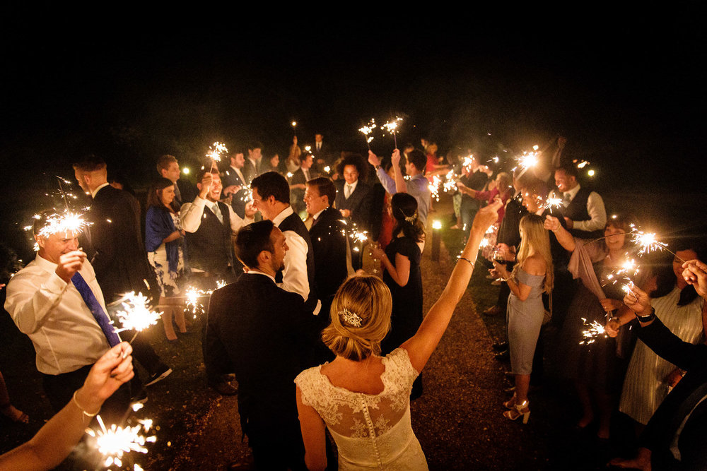 sparklers at coombe lodge wedding