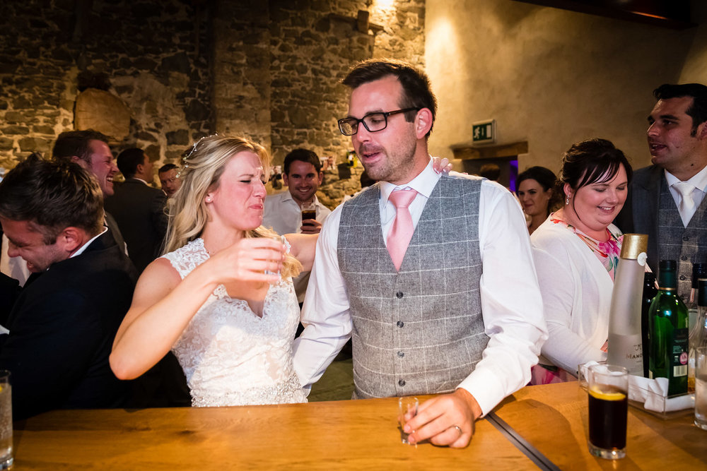 toasting getting married in the great barn devon