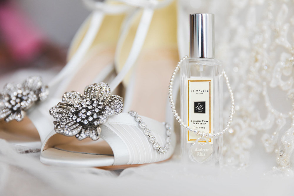 wedding shoes, perfume and jewellery