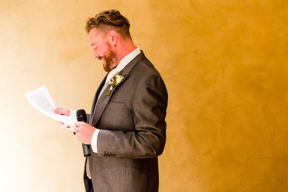 best man reading his speech