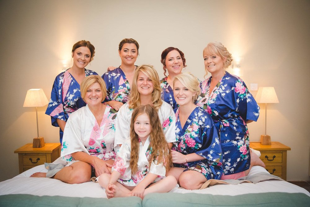 bride and bridesmaids at old post house wedding