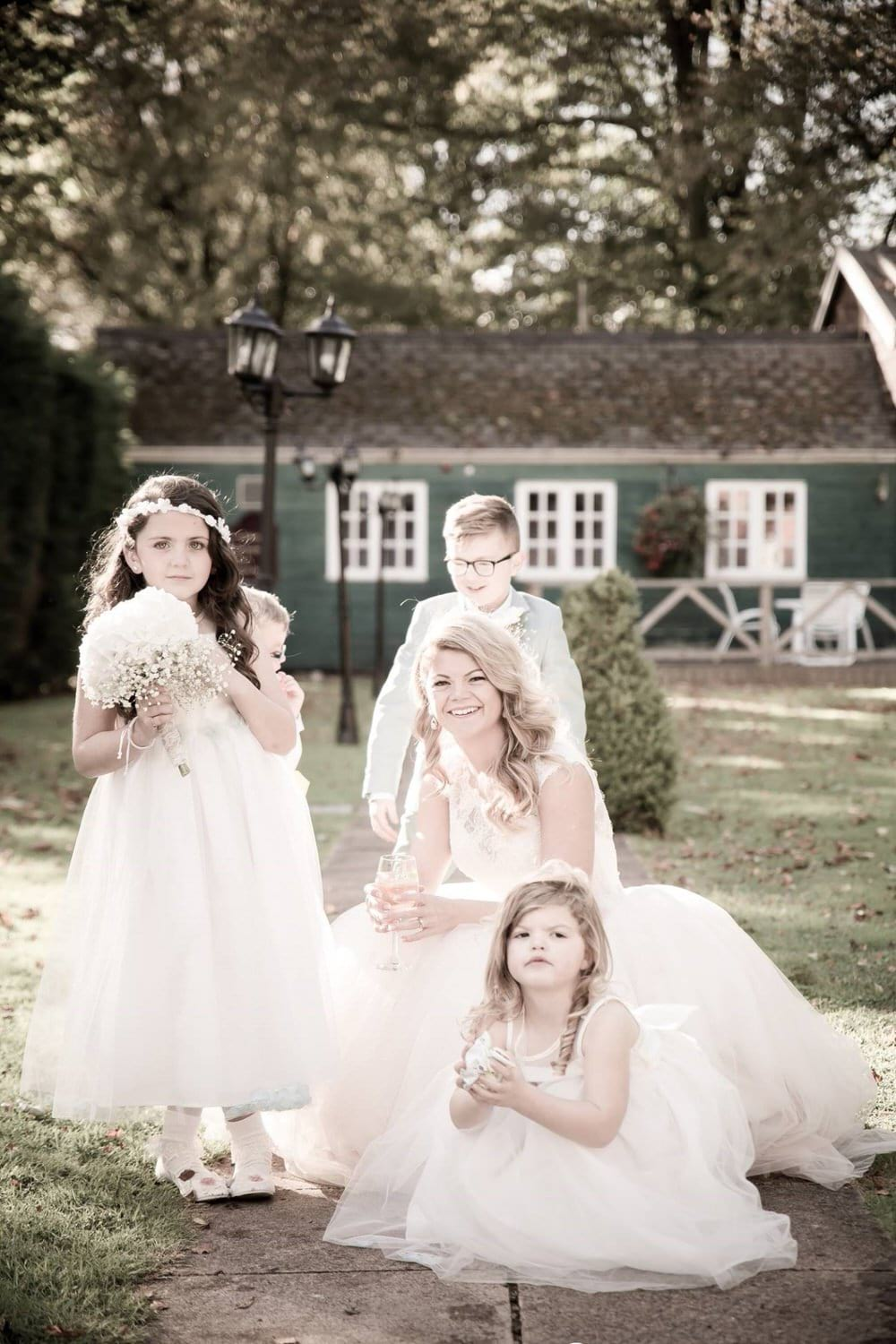 brride and daughters at coed y mwstwr wedding