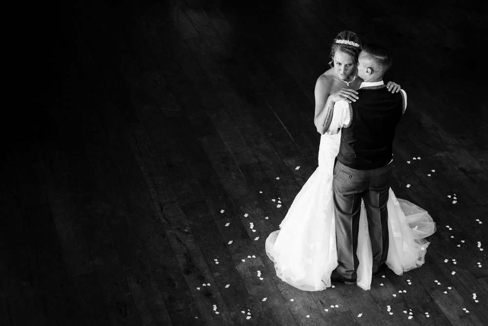 just married havung their first dance at miskin manor