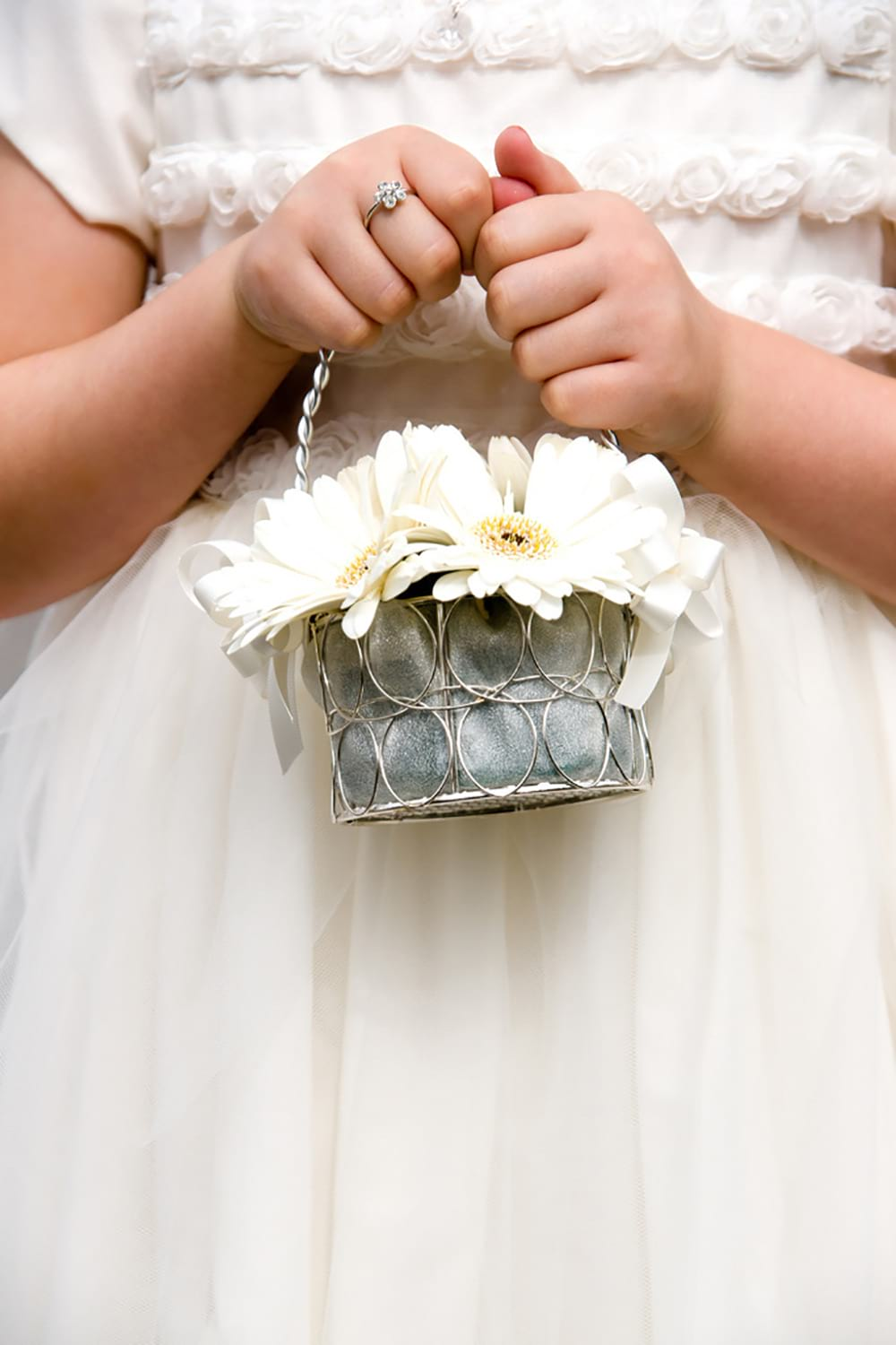 little flower baskett being held by flower girl