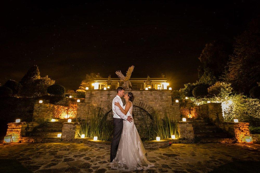 night sky during wedding photos at glenfall house