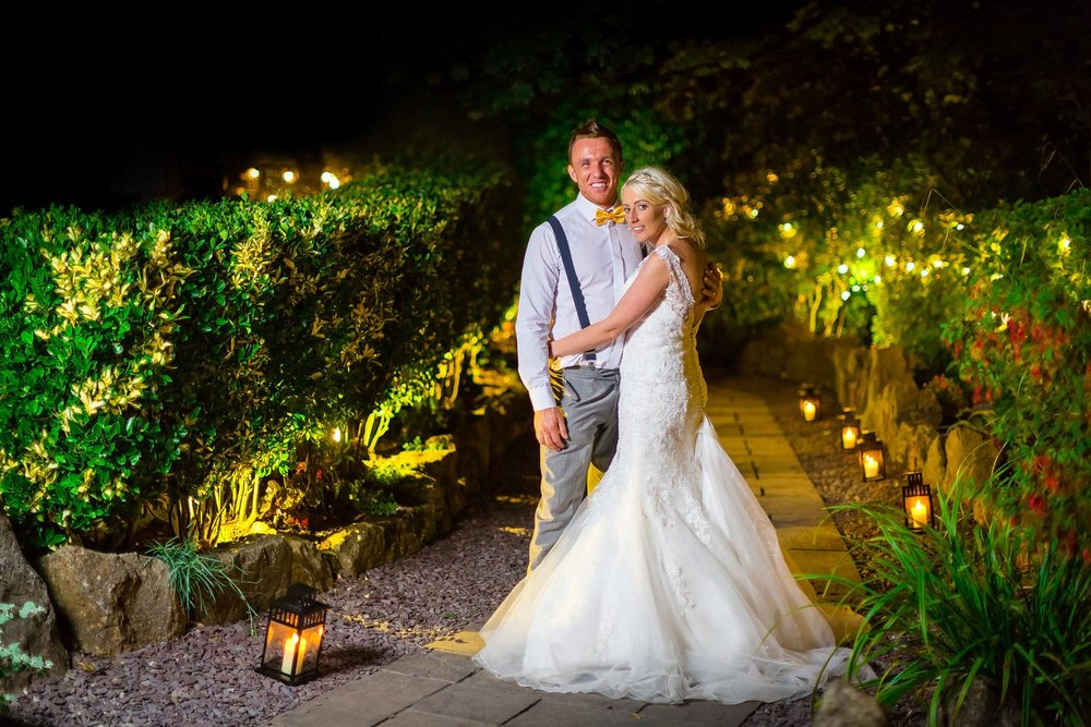 Night wedding photo at oxwich bay hotel