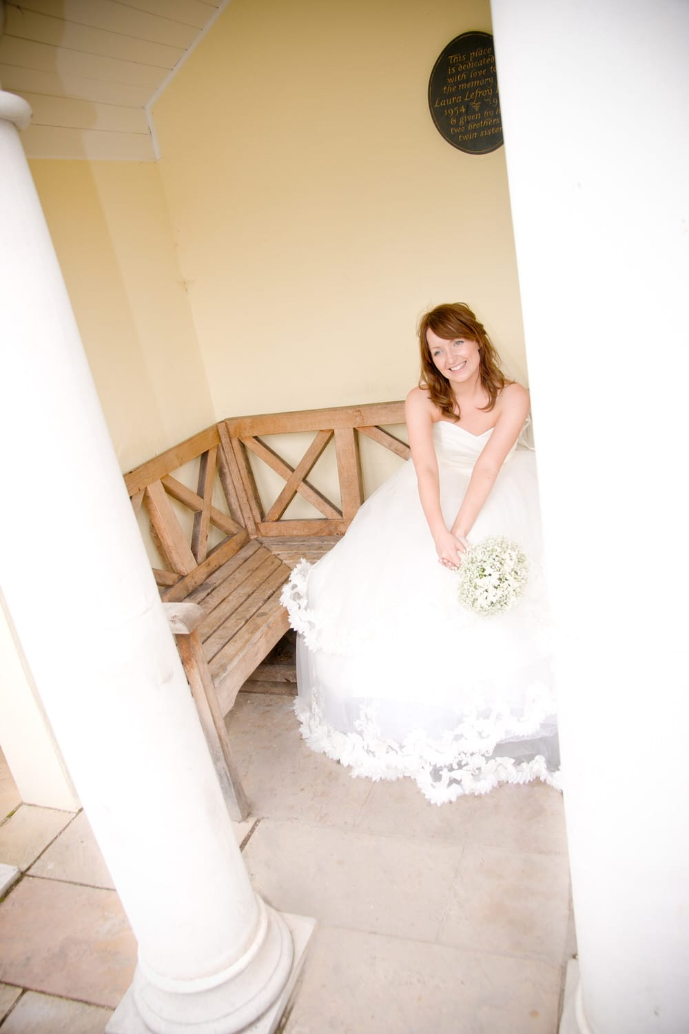 bride sat in pagoda in cowbridge