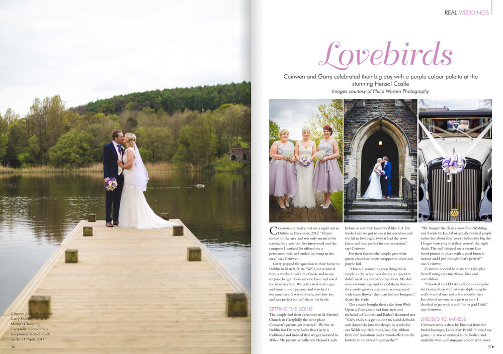 wedding magazine cover at hensol castle