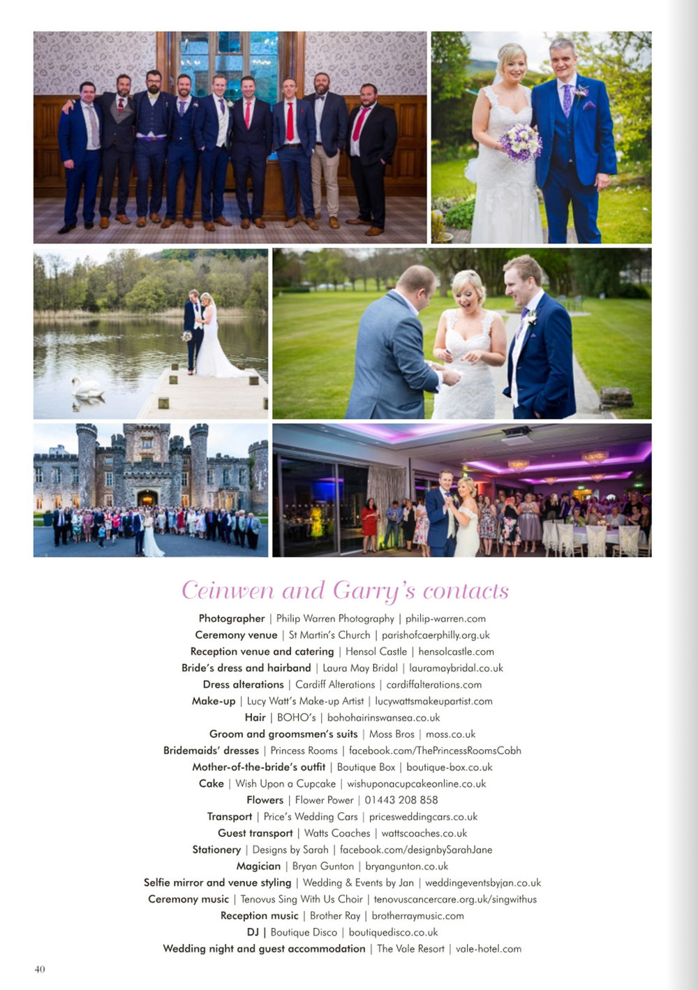 wedding at hensol castle magazine feature