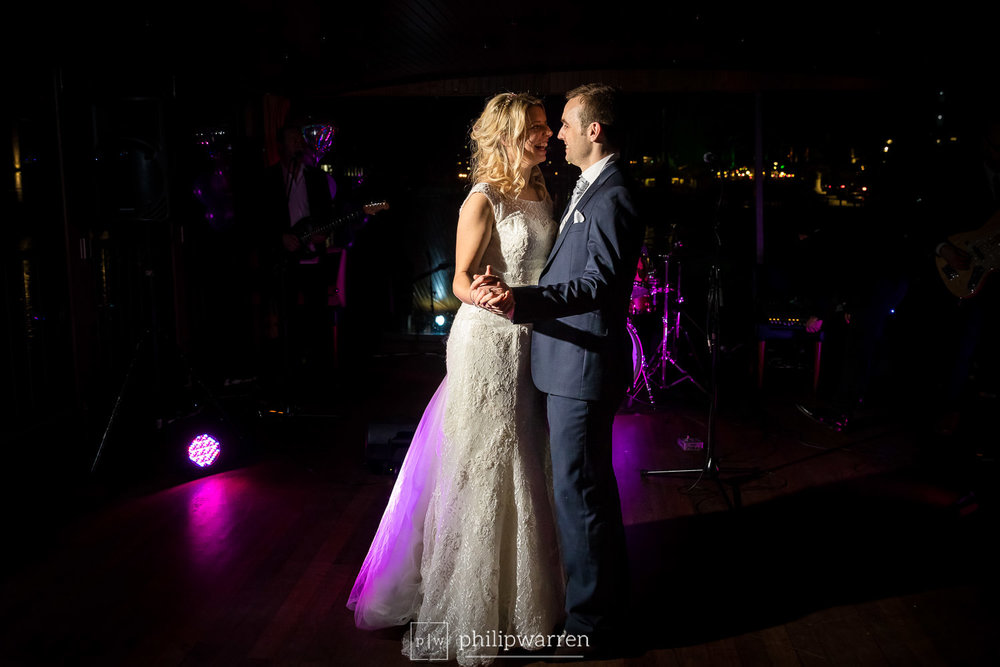 bride and grooms first dance on glassboat brasserie