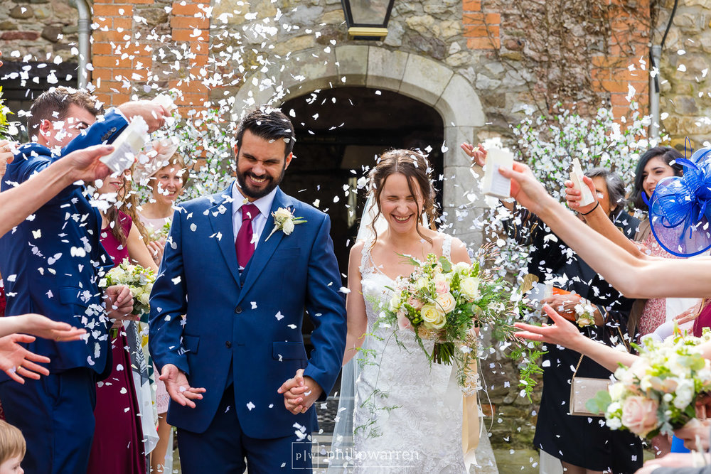 throwing confetti at pencoed house wedding
