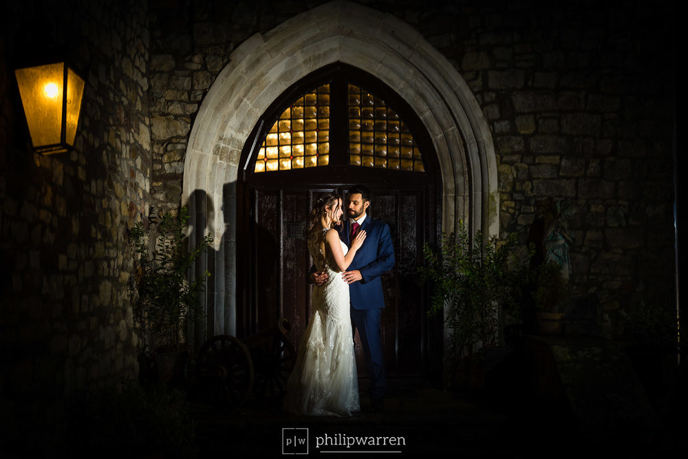 night time wedding photos at pencoed house estate