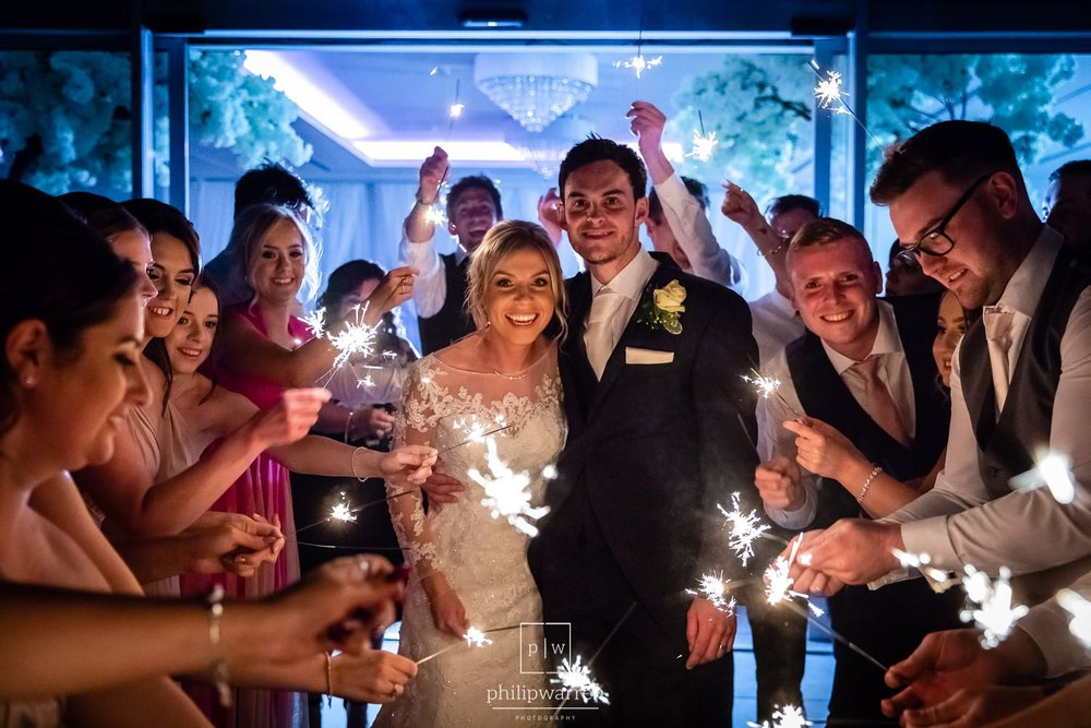 sparklers at wedding venue near cardiff