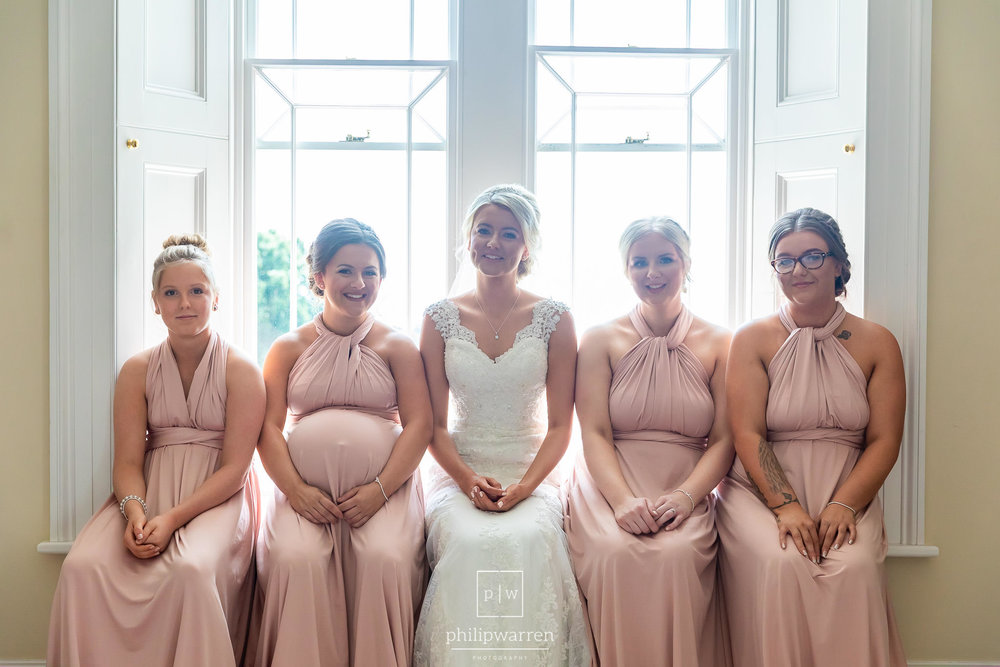 bridal party sat in window at st tewdrics house