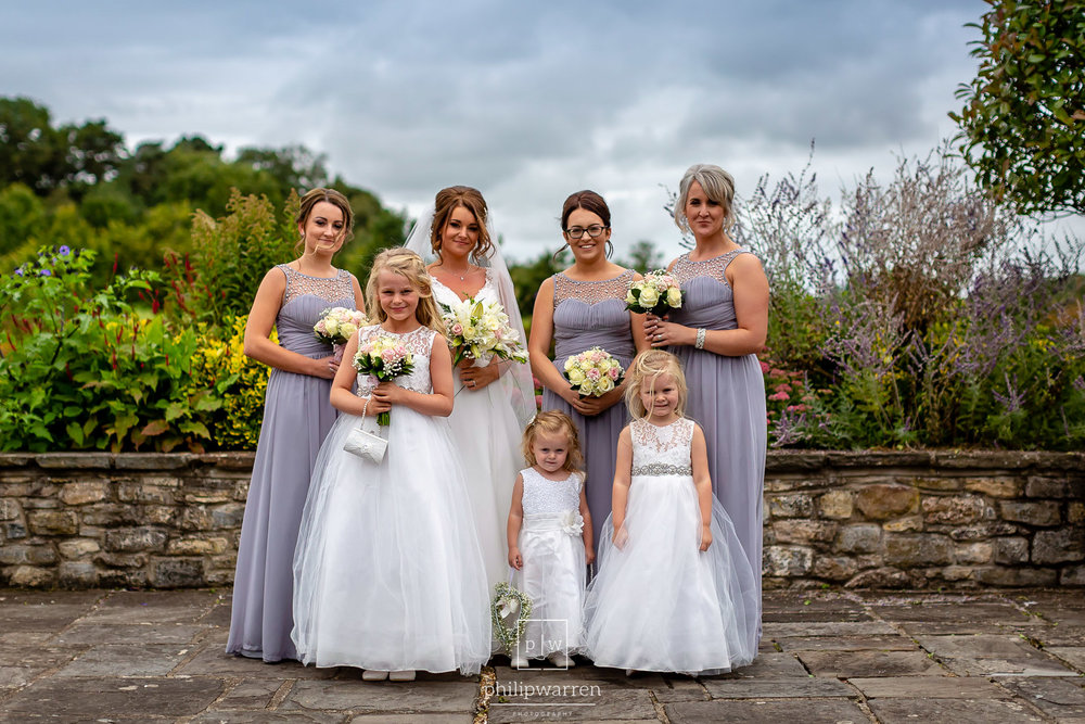 bride and bridesmaid wedding photo at cottrell park gold course