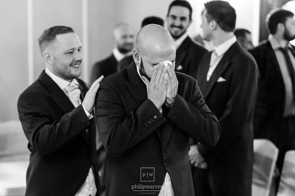groom crying at the start of wedding at ty newydd country hotel