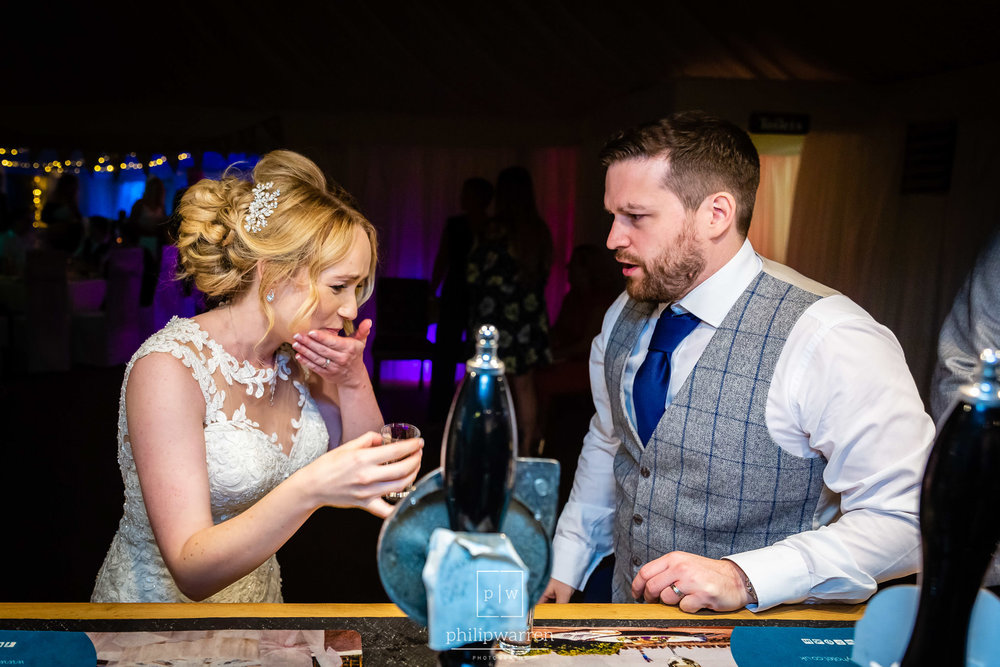 doing shots at oxwich bay wedding