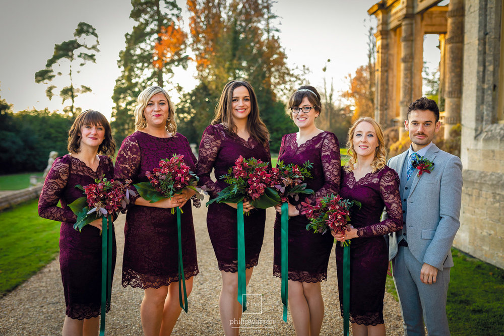 bridesmaids at wedding in orchardleigh estate