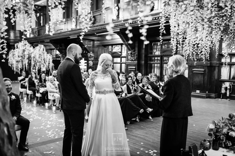 bride getting upset during wedding ceremony in cardiff