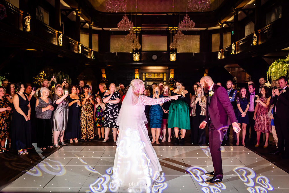first dance of bride and grooom in front of guests