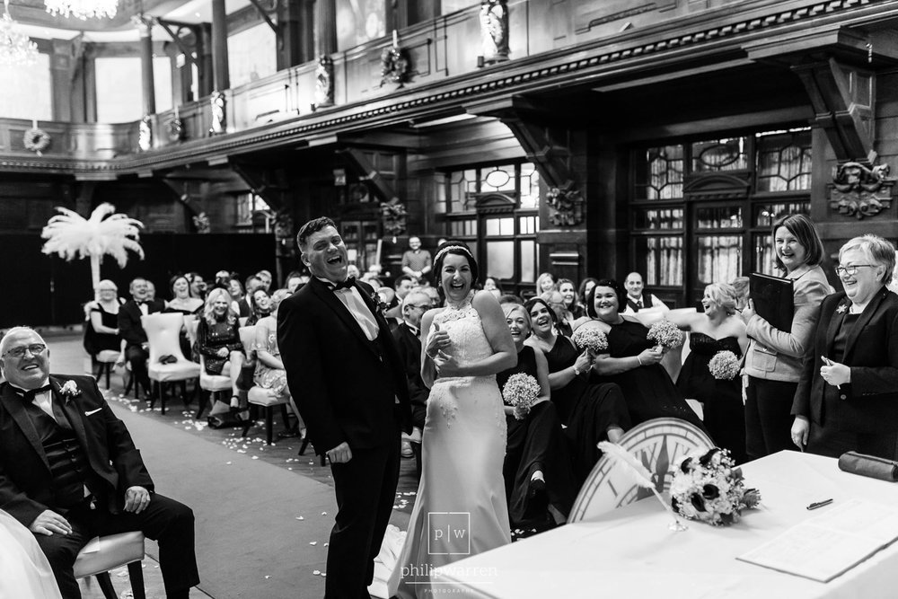 wedding ceremony laughs at the exchange hotel