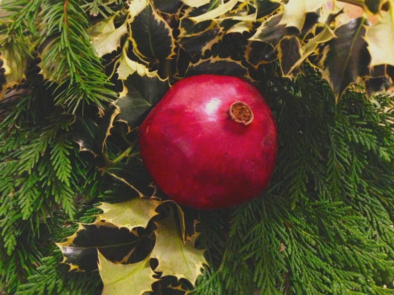 The little things that make life better: Turning those amazing pomegranates into festive holiday decor.