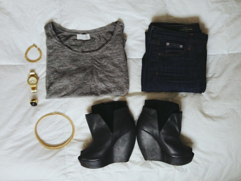 "Erica Weiner Gold ""Live Fast Die Young"" Bracelet, Fossil Watch, Fornash ""Kate"" Ring, Vintage Necklace (stolen from moms closet cerca 1990), Zara Perfect Tee, JCrew Toothpick Denim, Joe's Jeans Wedge Booties"