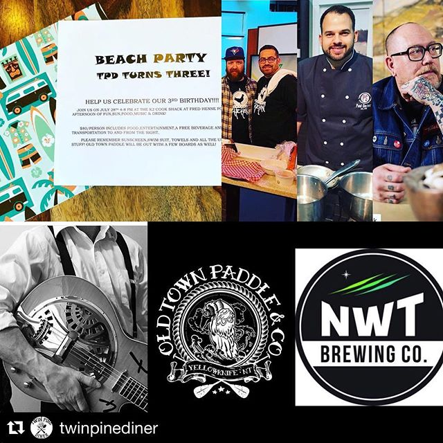 We're stoked to be a part of this. Get your tickets!! #Repost @twinpinediner ・・・ HBD TPD 🎂 This Saturday we are having a party at Fred Henne! Tickets are only $80 which includes food cooked by Chef Paul Shufelt, Chef Andrew Cowan, Chef Matt Phillips and Chef Robin Wasicuna. Old Town Paddle will provide paddle boards, the talented Chris Jonah will be providing music and we will have a cash bar with NWT Brewing Company beer! Transportation included! Message us today to get your tickets or stop by the diner to pick some up! 🏖 @nwtbrewingco @oldtownpaddle @chefpaulshufelt @interupt @chefcowan #twinpinediner #3rdyearanniversary #beachparty #yellowknife #spectacularnwt #yzf #tpd