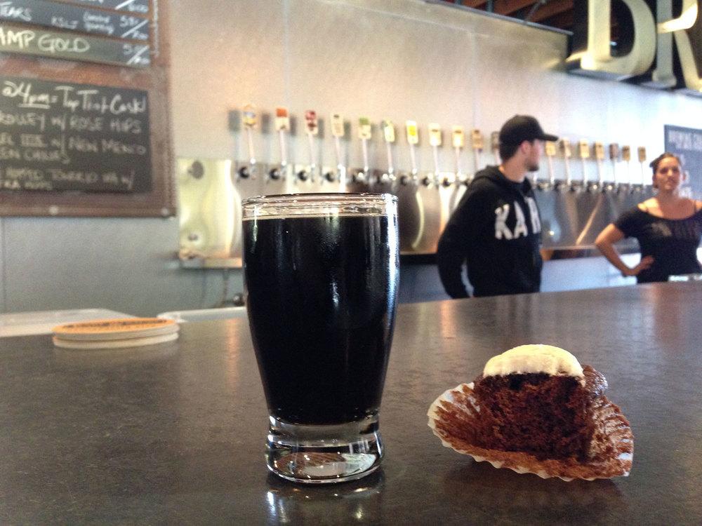 karl strauss wreck alley chocolate and vanilla bourbon cupcake