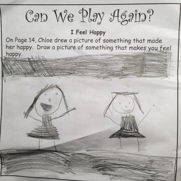 A child's happy drawing.