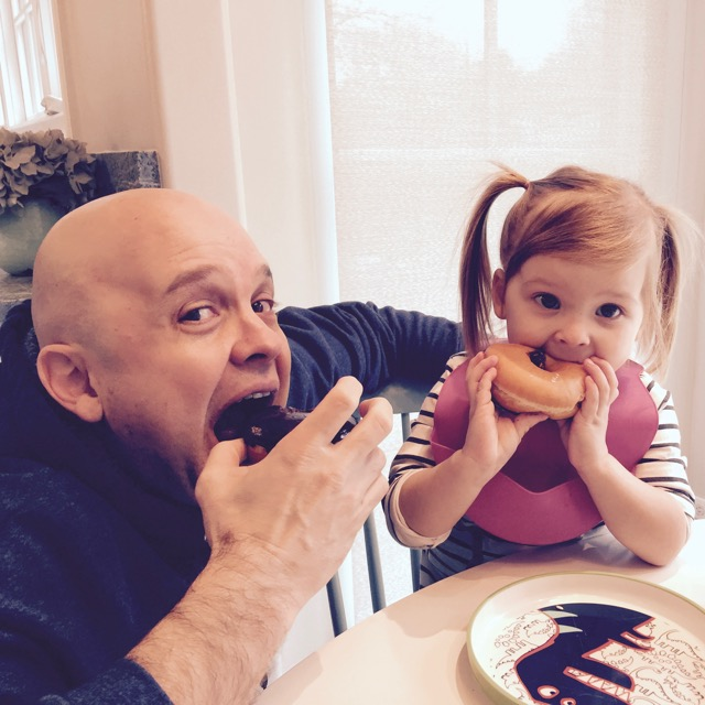 Daddy and me eating donuts