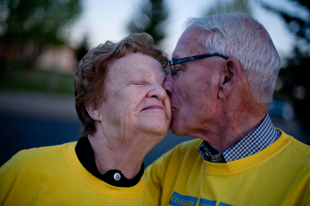 Survivors and married couple Jean and Ken Kay share a quick kiss during the Lloydminster Relay for Life. Friday May 30, 2014. James Wood/Lloydminster Meridian Booster/QMI Agency