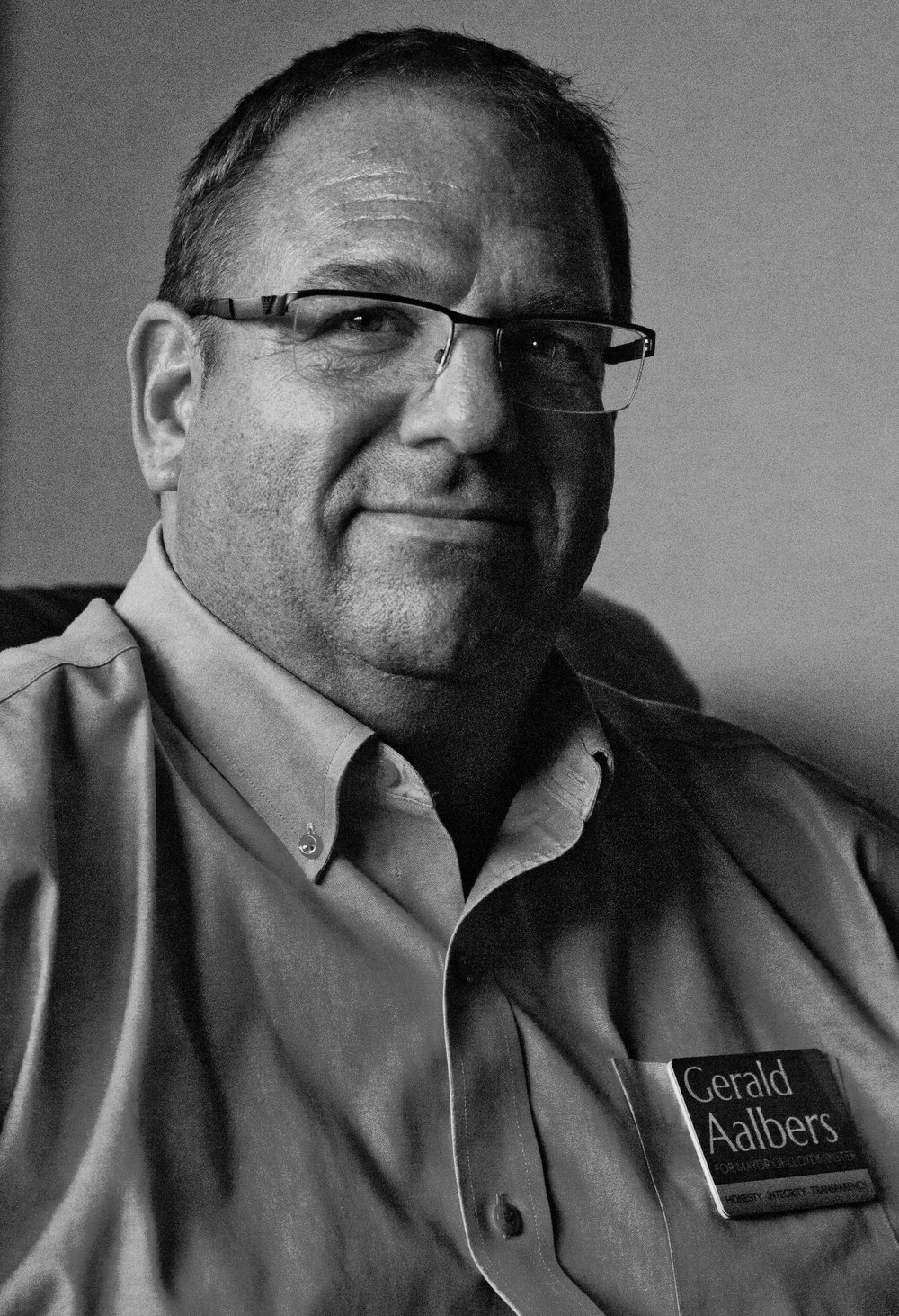 The last mayoral candidate of the three was Gerald Aalbers. Aalbers came into the race after taking issue with the way the city government handled the disclosure of a contract signed it signed with former mayor Jeff Mulligan. Prior to the municipal election, he had worked as an organizer for the Lloydminster Heavy Oil Show.