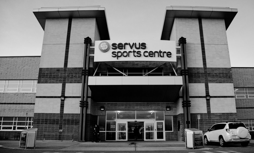 The day of the election, I found time to head out to one of the local polls at the Servus Sports Centre. While I wasn't allowed in to photograph the polling station, the exterior made for a good shot.