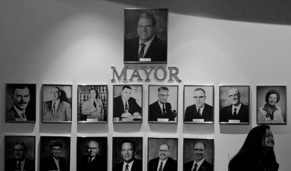 This is how the wall outside the council chambers in City Hall looks in Lloydminster, in the wake of last year's election.
