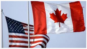 The U.S. stars & stripes and the Canadian maple leaf.