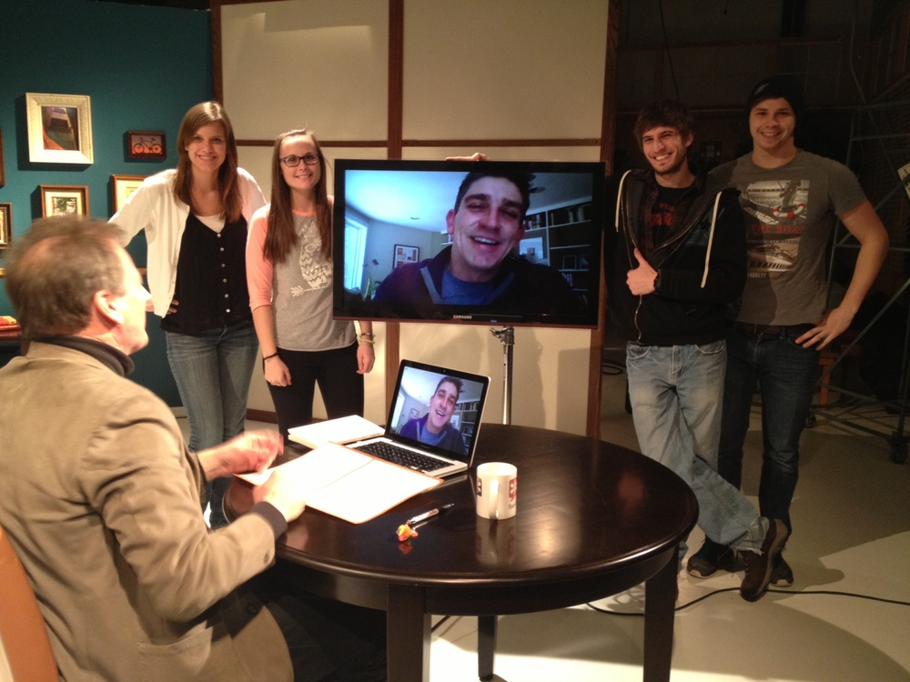 The FLYB crew poses with Skype guest and Presidential Inaugural Poet, Richard Blanco. L-R: Alyssa, Ellen, Richard, Jake, and Artie.