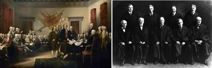 1776: founding fathers in Philadelphia                                              1923: U.S. Supreme Court