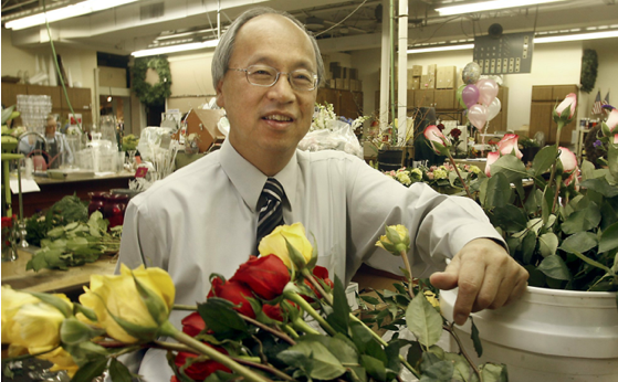 CEO Bing Goei at the renovated Kindel Furniture factory that now houses Eastern Floral's westside location, business incubator, and reception hall.