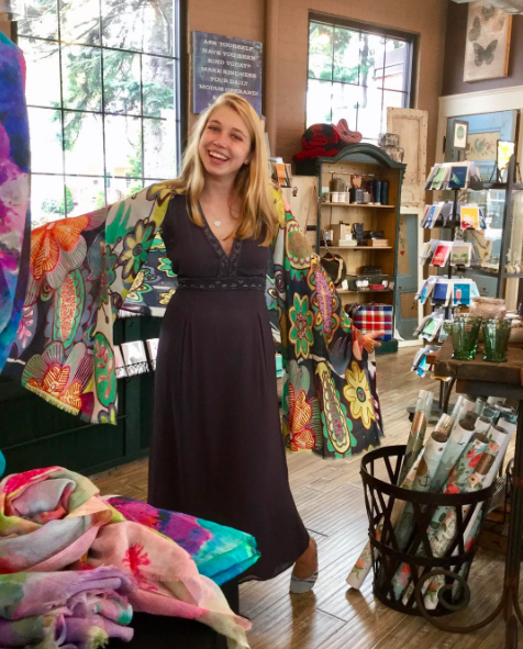 Olivia, in Wellesley, looks joyful in her colorful, beautiful Floral Sheer Wool Embroidered Scarf!